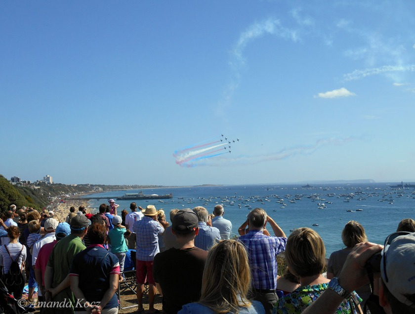 Red Arrows over Bournemouth Pier.