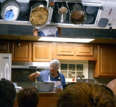 Pat demonstrating jambalaya