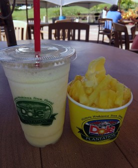 Pinapple smoothie (left) and pineapple whip (right)